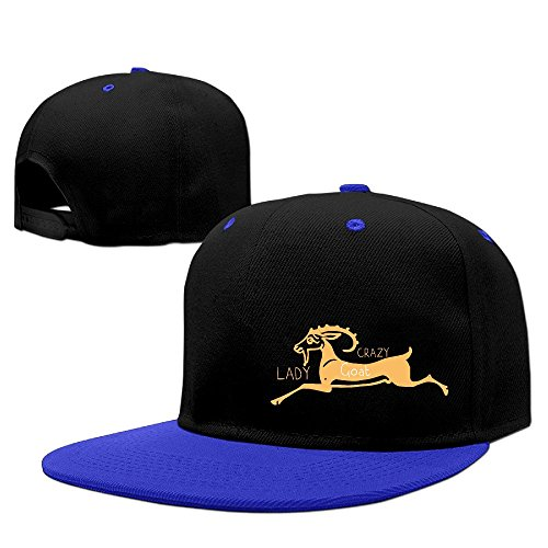 Custom Unisex-Adult Crazy Goat Lady Adjustable Summer Caps RoyalBlue
