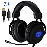 Gaming Headset,AWON Professional 7.1 Channel Virtual USB Surround Stereo Earphones with 57mm Driver Wired PC Gaming Headset,Noise Isolating LED light,Gaming Headphone for PC,Laptop, Computer(Black)