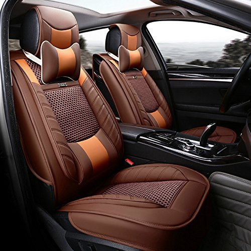 Seat Trim Leather - ANKIV Brown FULL SET Universal Fit 5 Seats Car 3d Surrounded Luxury Waterproof Pu Leather and Breathable Artificial Silk Car Seat Covers Trims with Fixed Lumbar Pillows for Sedan Suv