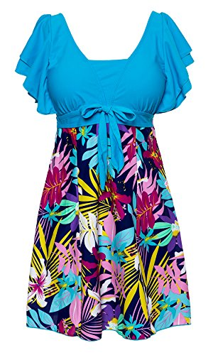 Wantdo Women's High Waist Swimsuit Dress Swimwear Beach Suit Soft Cup Plus Size