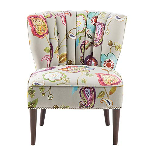 Madison Park Korey Accent Chairs - Hardwood, Birch Wood, Fabric Living Room Chairs - Khaki, Purple, Blue, Floral Paisley Style Living Room Sofa Furniture - 1 Piece Wingback Deep Seat Armless Bedroom Chairs Seats (Blue Ottoman Paisley)