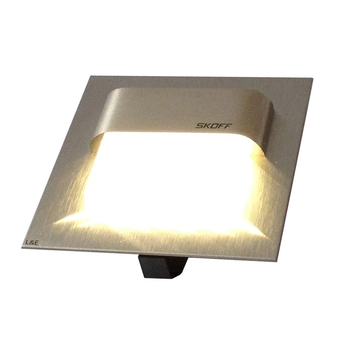 SKOFF LED Treppenbeleuchtung 2er Set TANGO (2er bis 7er Set) Edelstahl gebürstet. Lichtfarbe  warmweiss, 10V 0,8W IP20. Wandbeleuchtung. Set inklusive 2 LED Leuchten u. 1 Trafo. Bitte wählen Sie die gewünschte Set Größe aus.