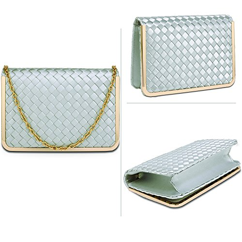 UK Evening Stunning Silver Clutch Silver FREE Flap Flap DELIVERY Bag Stunning wCCqanz