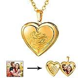 U7 Heart Shaped Photo Locket Pendant Necklace 18K Gold Plated Horoscope Zodiac Sign Gemini Jewelry, Unisex Style