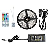 Moonor 5050 16.4ft/5m Flexible Led Strip Lights, 300leds RGB 60leds/m LED Ribbon with 44key IR Controller + Power Supply, For DIY Christmas Holiday Home Kitchen Car Bar Indoor Party Decoration