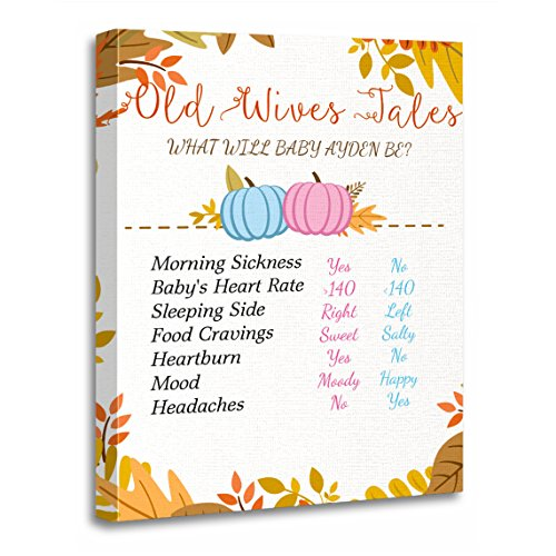 Fall Pumpkin Old Wives Tales Gender Reveal Party Artwork