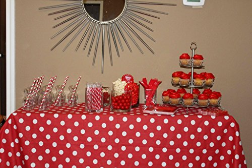 ArtOFabric Decorative Cotton Tablecloth in White Polka Dots on Red Print 59x72