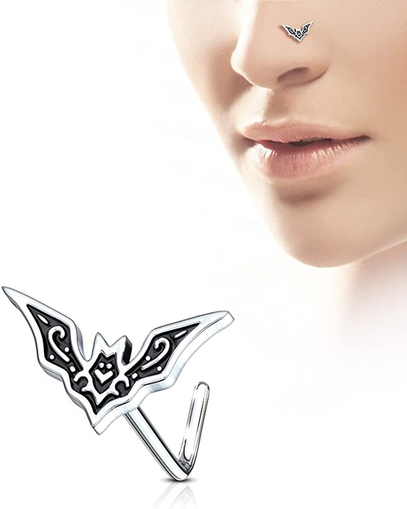 20Ga 1 x Surgical Steel Nose Stud With Claw Set White Opal 0.8mm