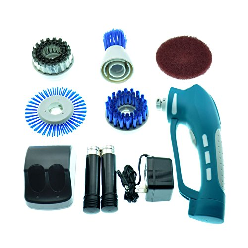 GBGS Cordless Power Scrubber with 2 Rechargeable Batteries 4 Brushes 1 Scouring Pad Ideal Bathroom Power Scrubber
