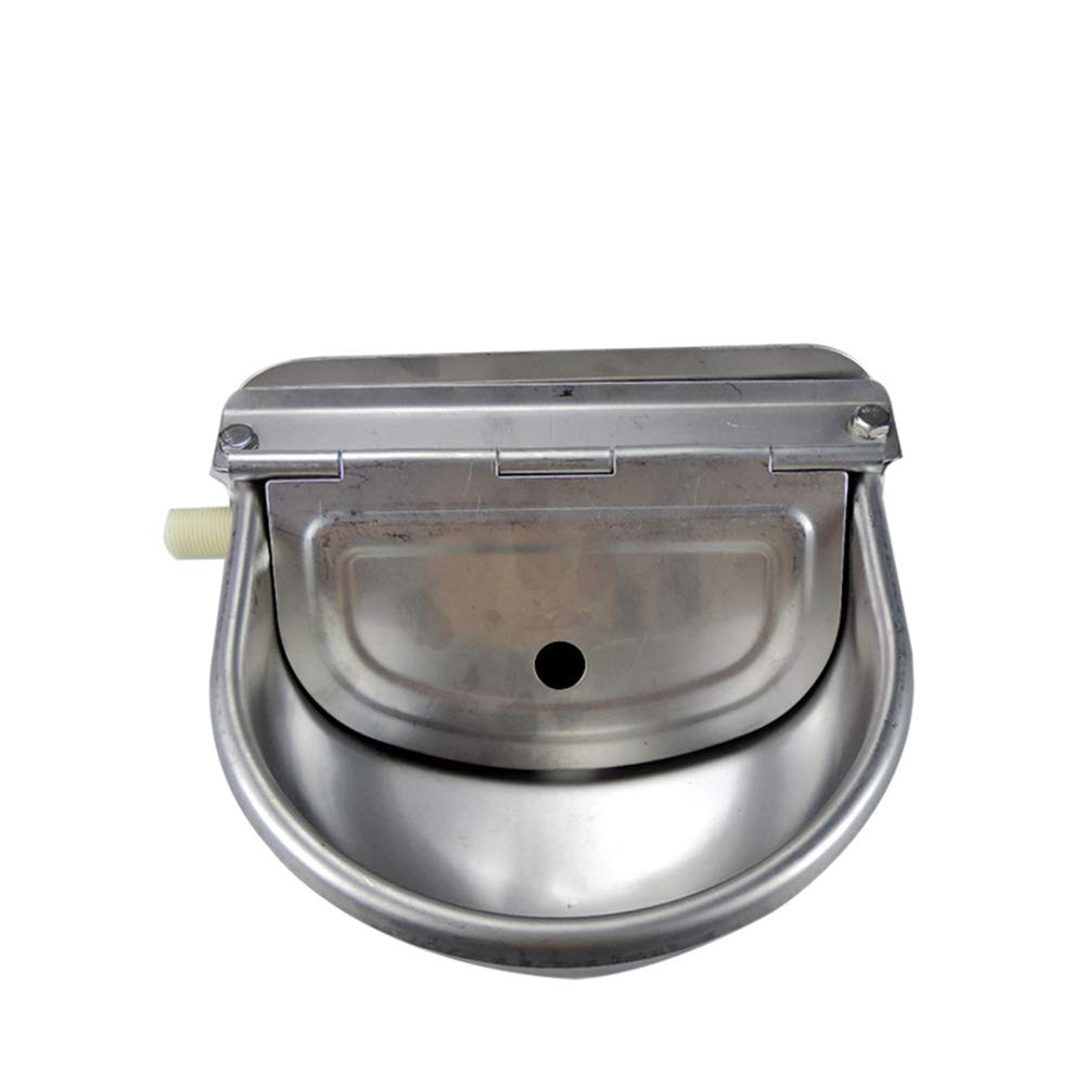 Lumpna Cow Water Bowl, Drink Automatic Float Trough Goat Stainless Steel Supplies Sheep Cattle Horse Pet Dog with Drain Hole Farming by Lumpna