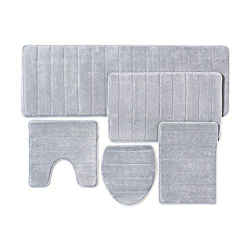 Bathroom Rug Mat, 5-Piece Set Memory Foam, Extra Soft Non-Slip Back (Grey)