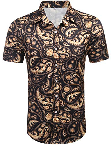 Daupanzees Mens Short Sleeve Cotton Luxury Design Floral -