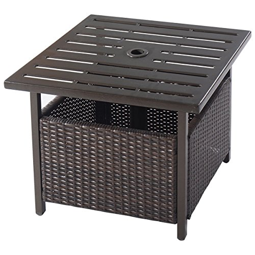 Giantex Patio Rattan Wicker Umbrella Side Table Stand with Umbrella Hole Steel Outdoor Deck Garden Pool, Brown (Table Side Umbrella)