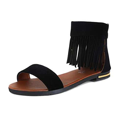 Summer Sandals Inkach Summer Sandals Women Casual Fringe Flat Sandals Comfortable Shoes