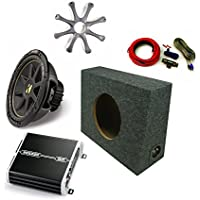 Kicker 12' Comp Sub DXA2501 Amp with Grill,Amp Kit, Truck Enclosure Bundle