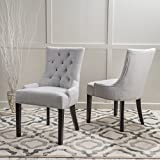 Christopher Knight Home 299538 Hayden Fabric Dining Chairs (Set of 2), Light Grey