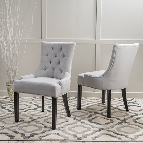 Stacy Light Grey Fabric Dining Chairs Set of 2