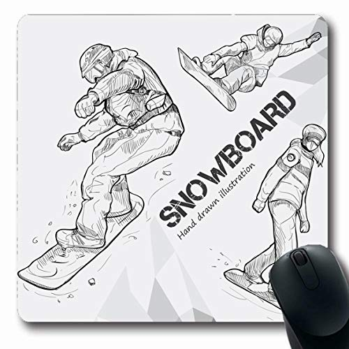 Ahawoso Mousepads Snowboarder Ski Winter Sport Snowboarding Hand Drawing Cross Snowboard Recreation Sketch Drawn Alpine Oblong Shape 7.9 x 9.5 Inches Non-Slip Gaming Mouse Pad Rubber Oblong ()