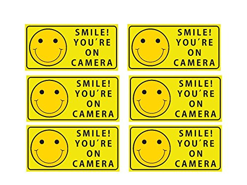 Sutter Signs Smile You're On Camera Security Stickers Indoor & Outdoor 4-inch by 2-inch (Pack of 6) ()