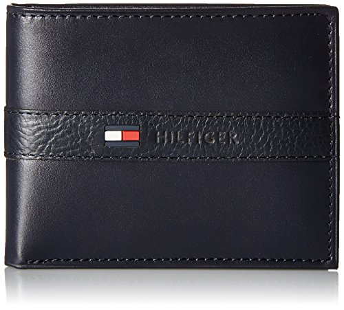 Tommy Hilfiger Men's Leather Wallet - Thin Sleek Casual Bifold with 6 Credit Card Pockets and Removable ID Window, Navy