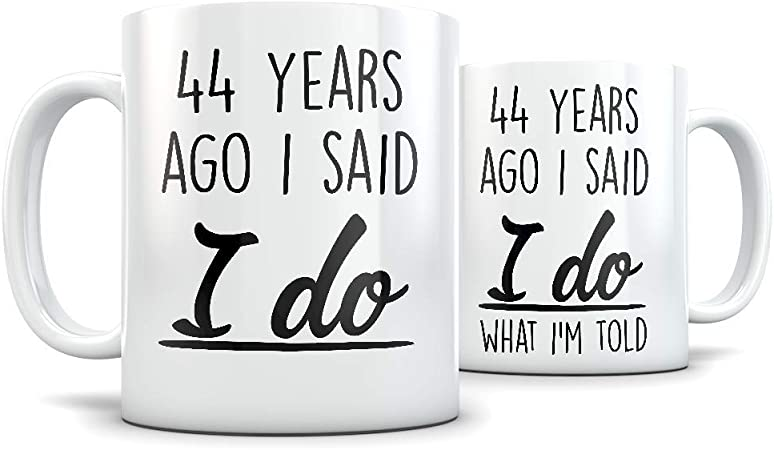 Amazon Com 44th Anniversary Gift For Couple Funny 44 Year Wedding Anniversary For Men And Women Him And Hers Marriage Coffee Mug Set I Love You For Parents Or Friends Kitchen