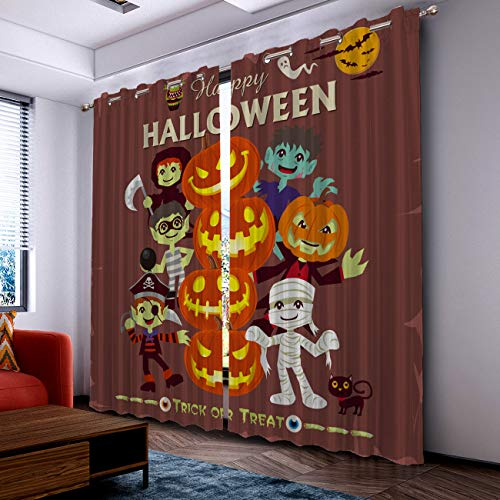 Prime Leader Curtains for Living Room- Darkening Thermal Insulated Window Treatment Curtains, with Grommet Home Decor Halloween Cartoon Pirate Vampire Mummy (2 Panels, 52 x 96 Inch Each Panel) ()