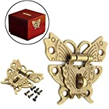 1 Piece Wooden Jewelry Box Case Locks Retro Vintage Butterfly Latch Catch Lock Hasp Pad Chest Lock Box Tools For Sale