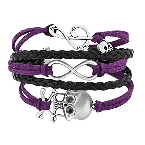 Moonlight Collections Skull Punk Rock Layered Multi-Strand Rope Leather Infinity Bracelet (Pick Your Color)