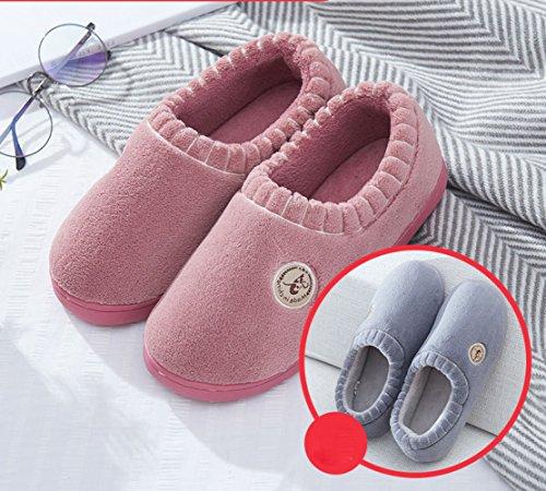 LIGUQI@ Tout Compris avec les Pantoufles de Coton Femme Hiver Chaud Couple Intérieur Maison Épaisse Cachemire Mois Enfant Chaussures Hommes,Gris,36/37 verges