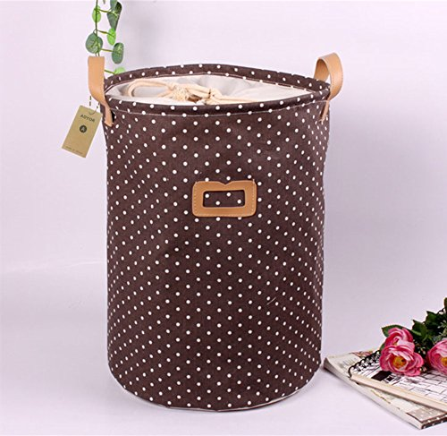 Printed Ramie Cotton Fabric Folding Laundry Storage Basket Toy Laundry Hamper with Handle (Brown Dots) (Dot Large Storage Bin)