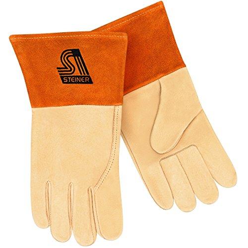 Premier Unlined Gloves - Steiner P210-X MIG/TIG Gloves, Grain Pigskin, Unlined, 4-Inch Cuff, Extra Large