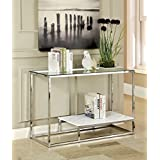 Furniture of America Gacelle Contemporary Glass Top Sofa Table, White