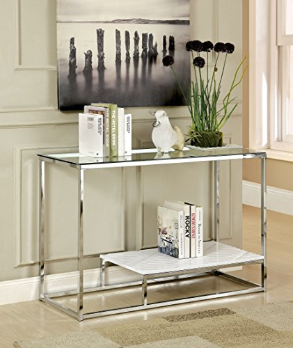 Furniture of America IDF-4231WH-S Gacelle Contemporary Glass Top Sofa Table, 54