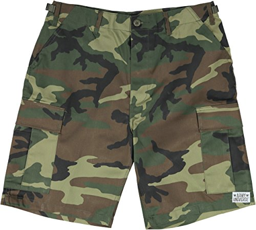 (Army Universe Woodland Camouflage Military BDU Cargo Shorts Pin Size Large (Waist 35-39