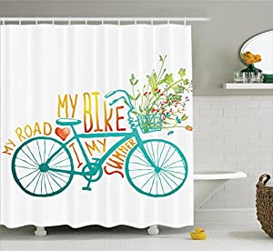 Bicycle Shower Curtain By Ambesonne Vintage Summer Bike A Floral Bouquet Cute Vehicle For Transport Illustration Fabric Bathroom Decor Set With Hooks