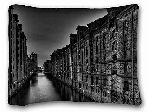 (Generic Personalized ( City black white building tall images river bridge night ) Pillow Covers Bedding Accessories Size 20