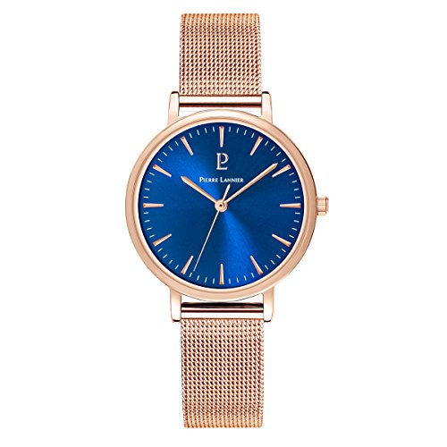 Women's Watch Pierre Lannier - 091L968 - WEEK-END SYMPHONY - Rose-Gold and Blue - Milanese Band