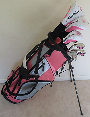 - Ladies Left Handed Golf Set - Complete Driver, Fairway Wood, Hybrid, Irons, Putter, Clubs and Stand Bag Pink Graphite