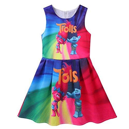 KIDHF Trolls Comfy Loose Fit Pajamas Girls Printed Princess Dress (Yellow,120/5-6Y)