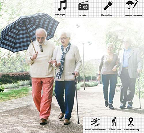 Maple_Leaf Walking Sticks Adjustable Smart Cane Umbrella Automatic Alarm Video Recorder Cane Universal Language with Rubber Ring Cane Umbrella Radio