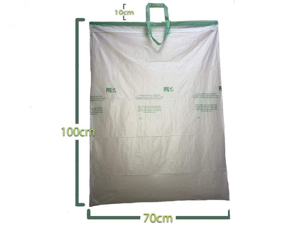 Palucart® 5 Rotoli da 10 Sacchetti per Raccolta Umido 50 Sacchi Organico 110 Litri compostabili e biodegradabili f.to 70x110 Manico compreso