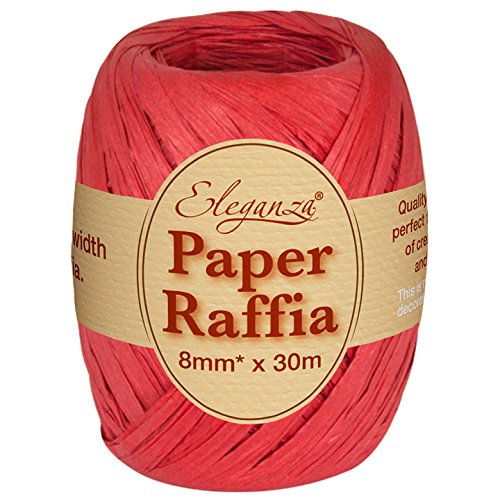 Eleganza 8 mm x 30 m Paper Raffia for Variety of Craft Projects and Gift Wrapping, No.16 Red Oaktree UK 630116