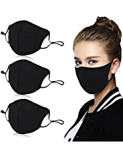 Aniwon 3 Pack Unisex Mouth Mask Adjustable Anti Dust Face Mouth Mask,Black Cotton Face Mask for Cycling Camping Travel