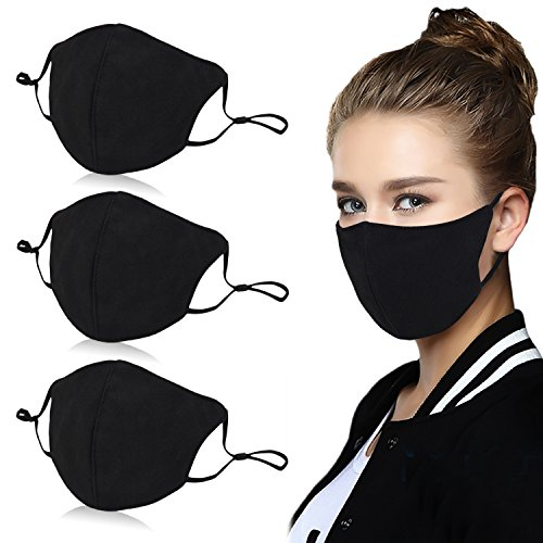 Aniwon 3 Pack Unisex Mouth Mask Adjustable Anti Dust Face Mouth Mask,Black Cotton Face Mask for Cycling Camping Travel]()