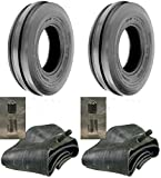 LOT OF TWO (2) 7.50-16 7.50X16 750-16 Tri Rib (3 Rib) F-2 Tires with Tubes 8 PLY RATED