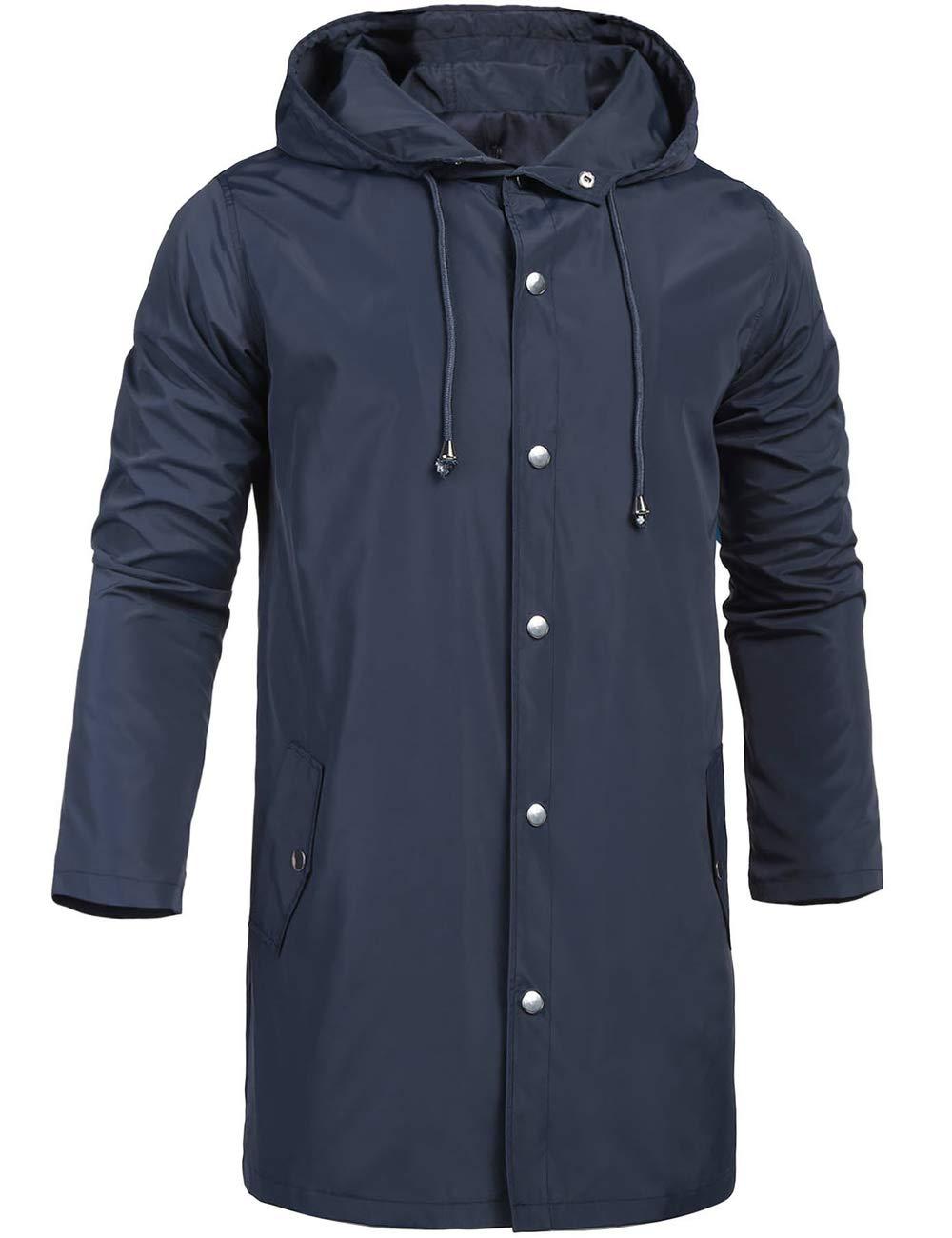 ZEGOLO Waterproof Rain Jacket for Men with Hooded Outdoor Travel Lightweight Windbreaker Shell Men's Rain Coats Long Navy Blue X-Large by ZEGOLO