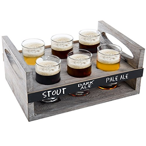 MyGift 6-Glass Craft Beer Tasting Flight Set with Rustic Wood Serving Caddy