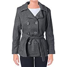 YMI Womens Juniors Faux Wool Double Breasted Pea Coat