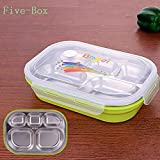 LunchBoxes by IreVoor- Lunch Box with Removable Stainless Tray 4/5-Compartment Lunch Container for Kids&Adults (Five, Green)