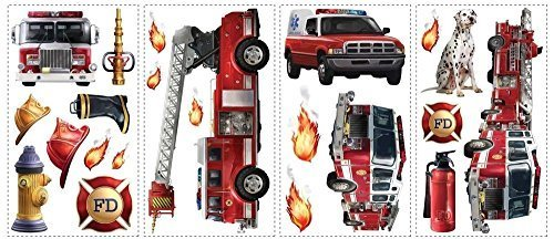New FIRE TRUCKS WALL DECALS Fireman Bedroom Stickers Kids Red Decor Decorations